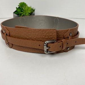 Kooba Medium Brown Textured Wide Belt M